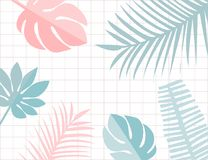 Tropical leaves frame with copyspace. Pastel pink and blue tropic summer background. Monstera and leaf.  vector illustration