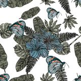 Tropical leaves, hibiscus and butterfly seamless pattern. Stock Images