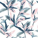 Tropical leaves on pastel mood Seamless graphic design with amazing palms. Fashion, interior, wrapping, packaging suitable. royalty free illustration