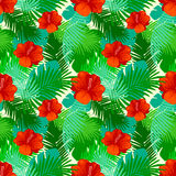 Tropical leaves pattern with flowers. Stock Photography