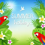 Tropical leaves and red parrots Stock Photo