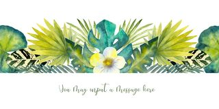 Tropical leaves . Repetition of summer horizontal border. Floral watercolor. Watercolor compositions for the design of. Greeting cards or invitations stock illustration