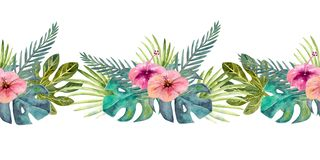 Tropical leaves . Repetition of summer horizontal border. Floral watercolor. Watercolor compositions for the design of. Greeting cards or invitations stock photography