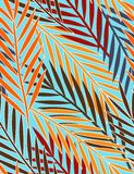 Tropical leaves - seamless pattern. Floral seamless pattern with styled palm leaves Royalty Free Stock Photo
