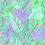 Tropical leaves seamless pattern. Bright palm leaves background. Jungle illustration. Fashion design for textile, wallpaper, web, fabric and decor Royalty Free Stock Images