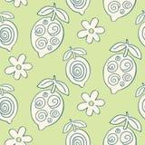 Tropical Leaves seamless pattern, modern hand drawn lemons royalty free illustration