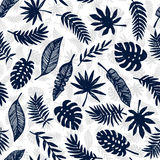 Tropical Leaves seamless pattern, modern hand drawn nature foliage Royalty Free Stock Images