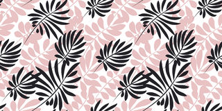 Tropical leaves seamless pattern in simple flat style. Royalty Free Stock Image