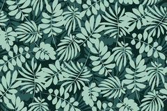 Tropical leaves seamless pattern in simple flat style. Stock Photography