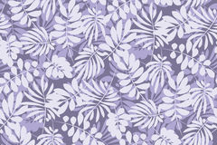 Tropical leaves seamless pattern in simple flat style. Stock Photo