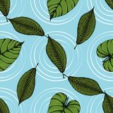 Tropical leaves seamless pattern sketches 15 stock illustration