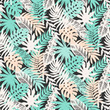 Tropical Leaves seamless pattern Royalty Free Stock Photo