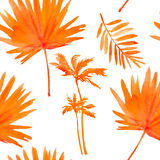 Tropical leaves. seamless watercolor background. Stock Photo
