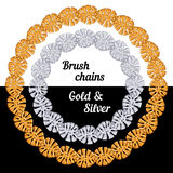 Tropical leaves Set of chains metal brushes - gold Stock Photo