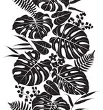 Tropical Leaves  Silhouette Pattern. Seamless line vertical  pattern made with tropical plants silhouette. Black and white floral texture with leaves in row Stock Images