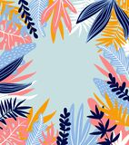 Tropical leaves. Vector frame in scandinavian style. Hand drawn background. Poster in orange and blue colors with place for text Stock Images