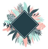 Tropical leaves. Vector  rhombus frame in scandinavian style. Hand drawn background. Poster in pink and blue colors with place for text Royalty Free Stock Photos
