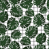 Tropical leaves. Vector. Seamless pattern in swatch. Jungle leaves wallpaper. Hawaii background with geometric grid Royalty Free Stock Images