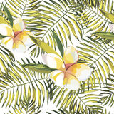 Tropical leaves whis Plumeria. Beautiful seamless vector floral pattern background, exotic print. EPS 10 vector illustration