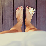 Tropical legs. Woman legs with tropical flower Royalty Free Stock Photos