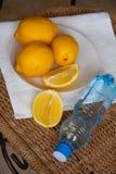 Tropical lemons on  straw background Stock Photo