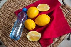 Tropical lemons on  straw background Royalty Free Stock Image
