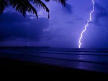 Tropical Lightning. Lightning at the surfing beach Weligama in Sri Lanka Stock Photo
