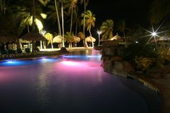 Tropical lights. Pool lights tropical resort Aruba Island, Caribbean Royalty Free Stock Photo