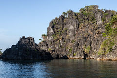 Tropical Limestone Islands and Water. Rugged limestone islands are common throughout Raja Ampat, Indonesia, Palau, and a few other destinations. The islands were Stock Images