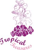Tropical line 01. Purple-colored flowers that adds vitality to the tropical coast garafiÄŸi vector illustration