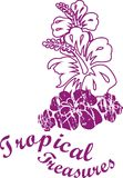 Tropical line. Purple-colored flowers that adds vitality to the tropical coast garafiÄŸi royalty free illustration