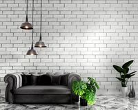 Mock up Tropical Loft interior mock up with sofa and decoration and white brick wall on granite floor .3D rendering. Tropical Loft interior mock up with sofa and vector illustration