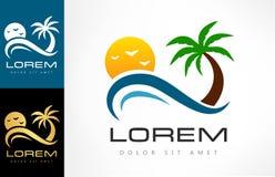 Tropical logo vector. Palm tree, wave, sun and bird. Logo design vector illustration Royalty Free Stock Image