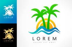Tropical logo vector. Palm tree, wave, sun. Logo design vector illustration Stock Images