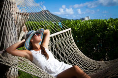 Tropical luxury. Hammock relaxation Stock Images