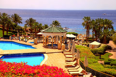 Tropical luxury resort hotel, Sharm el Sheikh, Egypt. Royalty Free Stock Photos