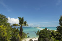Tropical Malagasy beach landscape on turquoise waters Stock Photos
