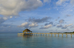 Tropical Maldives Island Serenade Jetty Royalty Free Stock Images