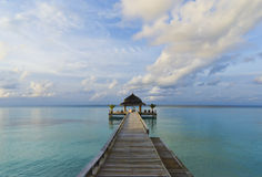 Tropical Maldives Jetty Stock Photography