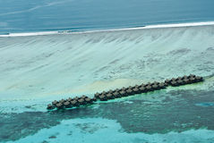 Tropical Maldivian island in Indian ocean Stock Images