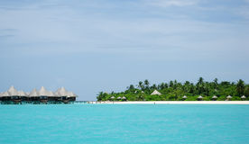 Tropical Maldivian island in Indian ocean Royalty Free Stock Photos