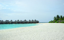 Tropical Maldivian island in Indian ocean Royalty Free Stock Photography