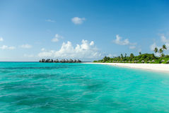 Tropical Maldivian island in Indian ocean Stock Images