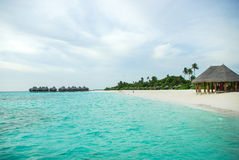 Tropical Maldivian island in Indian ocean Stock Photography