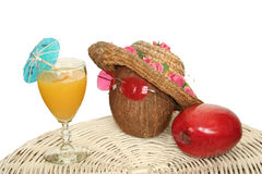 Tropical mango and coco juice Royalty Free Stock Photos