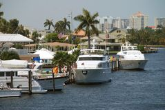 Tropical marina and yachts Stock Photos