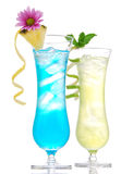 Tropical Martini cosmopolitan cocktail blue hawaiian. And yellow margarita alcohol drink isolated on a white background stock photography