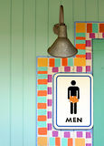 Tropical mens room sign Stock Photos