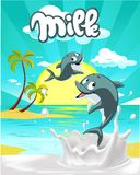 Tropical milk flat design with cute dolphin vector illustration Stock Image