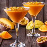 Tropical milkshake with ingredients. Royalty Free Stock Images
